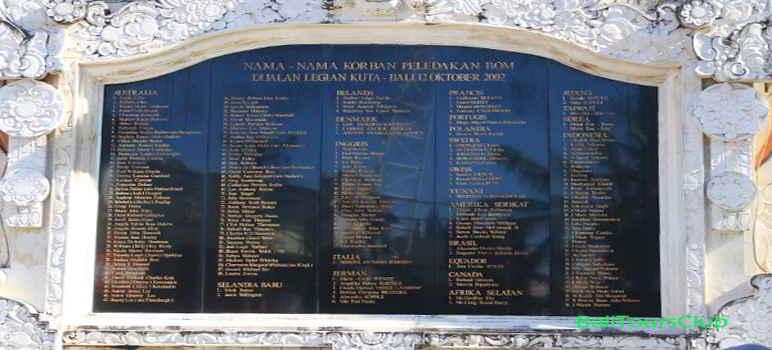 Nama Nama Korban Bom Bali di Monumen Bom Bali 2 di Jalan Legian Kuta