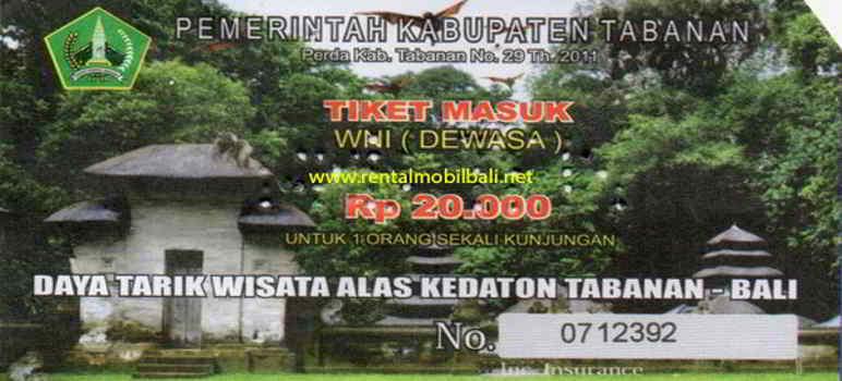 Harga Tiket Masuk Objek Wisata Alas Kedaton Monkey Forest & Temple Tabanan Bali