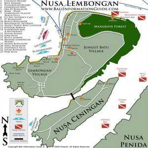 Peta Tempat Wisata di Nusa Ceningan Bali