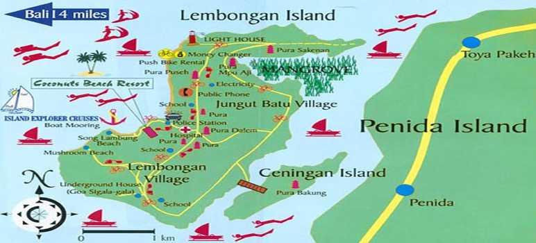 Peta Tempat Wisata Nusa Lembongan Bali