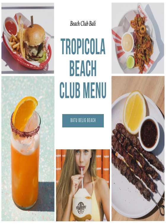 Menu Tropicola Beach Club Bali 1